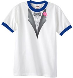 Image of Tuxedo T-Shirt Ringer With Pink Flower - White/Royal
