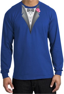 Image of Tuxedo T-shirt Long Sleeve with Pink Flower - Royal Blue