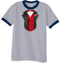 Image of Tuxedo T-Shirt Ringer With Red Vest - Heather Grey/Navy