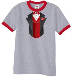 Image of Tuxedo T-Shirt Ringer With Red Vest - Heather Grey/Red