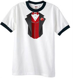 Image of Tuxedo T-Shirt Ringer With Red Vest - White/Black