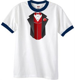 Image of Tuxedo T-Shirt Ringer With Red Vest - White/Navy