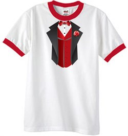 Image of Tuxedo T-Shirt Ringer With Red Vest - White/Red