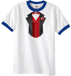 Image of Tuxedo T-Shirt Ringer With Red Vest - White/Royal