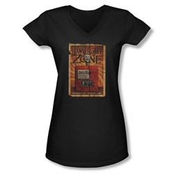 Image of Twilight Zone Shirt Juniors V Neck Mystic Seers Black T-Shirt