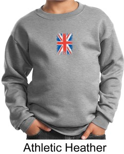 Image of Union Jack Sweatshirt British UK Flag Small Print Youth Sweatshirt