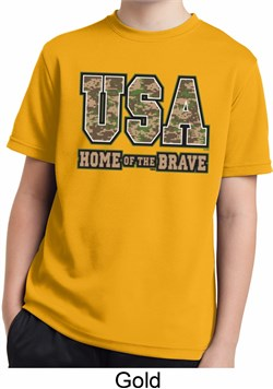 Image of USA Home of the Brave Kids Moisture Wicking Shirt