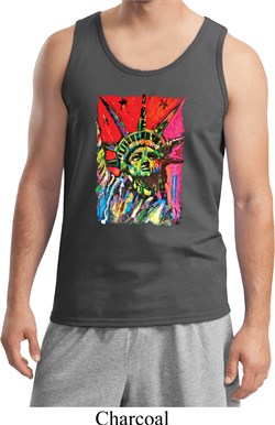 Image of USA Tank Top Statue of Liberty Painting Tanktop