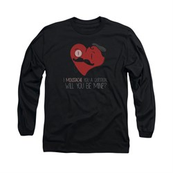 Valentine's Day Shirt Popping The Question Long Sleeve Black Tee T-Shirt