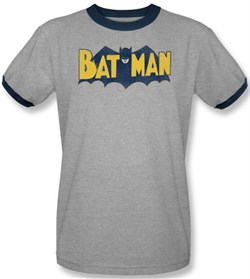 Batman Ringer T-Shirt - Vintage Batman Logo Adult Gray/Navy Tee