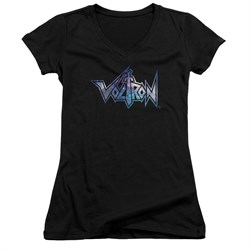 Voltron Shirt Juniors V Neck Space Logo Black Tee T-Shirt