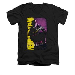 Image of Watchmen Shirt Slim Fit V-Neck Perched Black T-Shirt