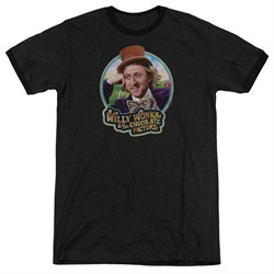 Willy Wonka and The Chocolate Factory  Its Scrumdiddlyumptious Black Ringer Shirt