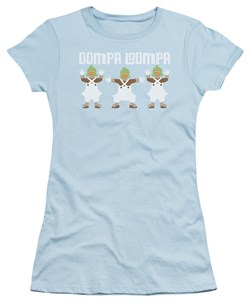 Willy Wonka and The Chocolate Factory  Juniors Shirt Oompa Loompa Light Blue T-Shirt