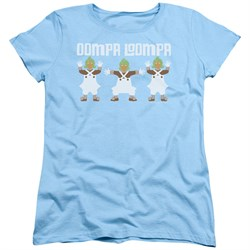 Willy Wonka and The Chocolate Factory  Womens Shirt Oompa Loompa Light Blue T-Shirt