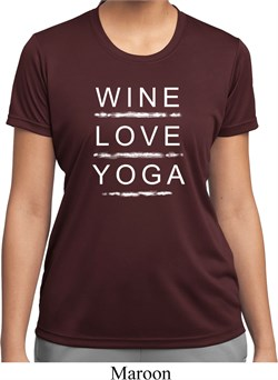 Image of Wine Love Yoga Ladies Moisture Wicking Shirt