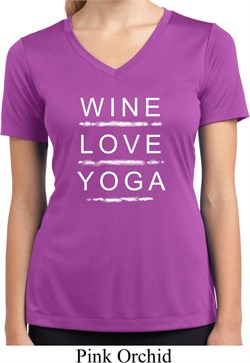 Image of Wine Love Yoga Ladies Moisture Wicking V-neck Shirt