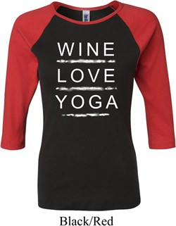 Image of Wine Love Yoga Ladies Raglan Shirt