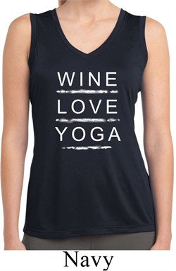 Image of Wine Love Yoga Ladies Sleeveless Moisture Wicking Shirt