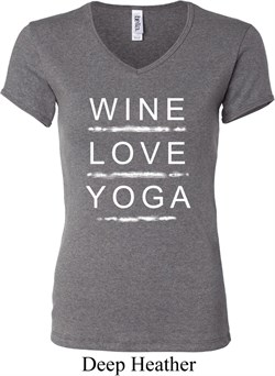 Image of Wine Love Yoga Ladies V-neck Shirt