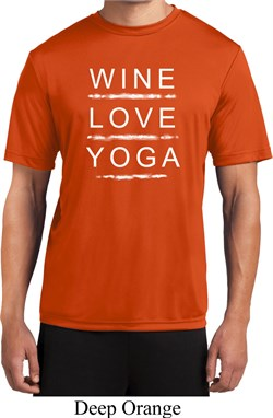 Image of Wine Love Yoga Mens Moisture Wicking Shirt