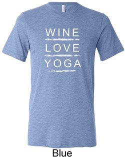 Image of Wine Love Yoga Mens Tri Blend Crewneck Shirt