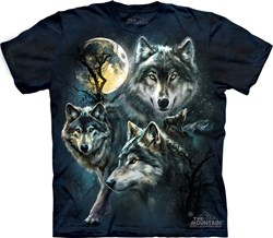 Image of Wolf Shirt Moon Wolves Collage T-shirt Tie Dye Adult Tee