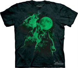 Wolf Shirt Tie Dye Glow In The Dark Wolves Moon T-shirt Adult Tee