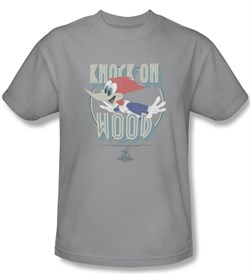 Woody Woodpecker Shirt Knock On Wood Adult Silver Tee T-Shirt