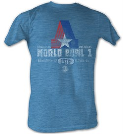 Image of World Football League T-Shirt World Bowl 1974 Adult Blue Heather Tee