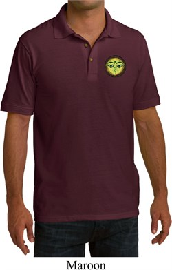 Image of Yoga Buddha Eyes Patch Pocket Print Mens Pique Polo Shirt