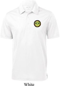 Image of Yoga Buddha Eyes Patch Pocket Print Mens Textured Polo Shirt