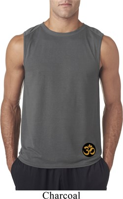 Image of Yoga Gold AUM Patch Bottom Print Mens Sleeveless Shirt