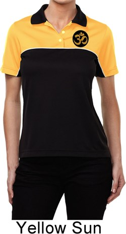 Image of Yoga Gold AUM Patch Pocket Print Ladies Polo Shirt
