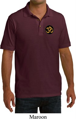 Image of Yoga Gold AUM Patch Pocket Print Mens Pique Polo Shirt
