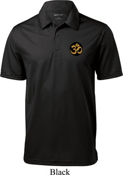 Image of Yoga Gold AUM Patch Pocket Print Mens Textured Polo Shirt