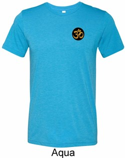 Image of Yoga Gold AUM Patch Pocket Print Mens Tri Blend Crewneck Shirt