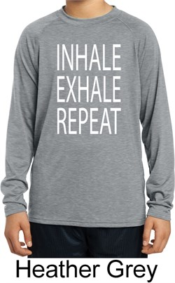 Image of Yoga Inhale Exhale Repeat Kids Dry Wicking Long Sleeve Shirt