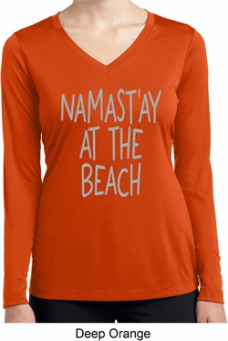 Image of Yoga Namastay at the Beach Ladies Dry Wicking Long Sleeve Shirt