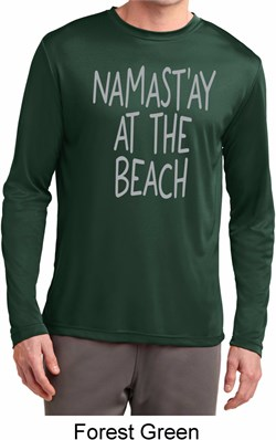 Image of Yoga Namastay at the Beach Mens Dry Wicking Long Sleeve Shirt