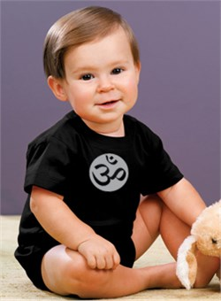 Image of Yoga Romper Om Symbol Small Print Infant Baby Creeper