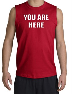 Image of YOU ARE HERE Funny Novelty Adult Muscle Shirt Shooter - Red