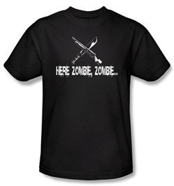Image of Zombie T-Shirt Here Zombie Zombie Adult Black Tee Shirt