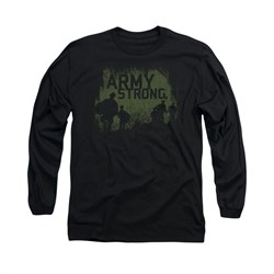Army Shirt Distressed Army Strong Long Sleeve Black Tee T-Shirt