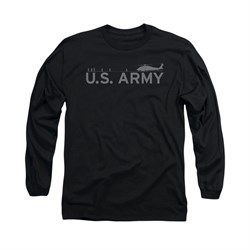 Army Shirt Helicopter Long Sleeve Black Tee T-Shirt
