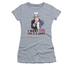 Army Shirt Juniors I Want You Athletic Heather T-Shirt