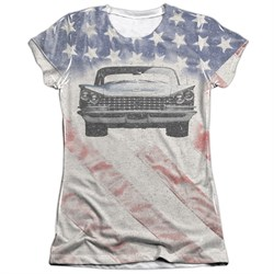 Buick Shirt 1959 Electra Flag Poly/Cotton Sublimation Juniors T-Shirt Front/Back Print