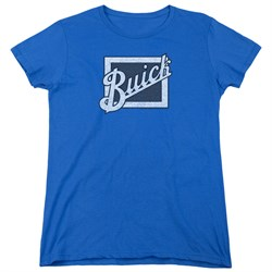 Buick Womens Shirt Distressed Emblen Royal Blue T-Shirt