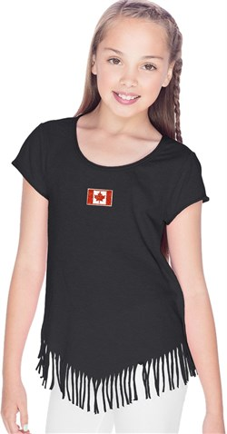 Canada Flag Patch Small Print Girls Fringe T-shirt
