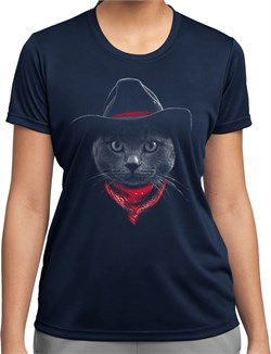 Cowboy Cat Ladies Dry Wicking T-shirt